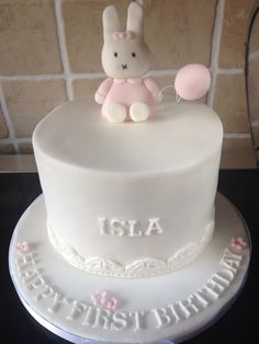 Miffy birthday cake, fondant, first birthday