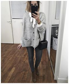 Boots Grey Outfit Ankle 62 New Ideas Winter Fashion Outfits, Fall Winter Outfits, Autumn Winter Fashion, Cold Spring Outfit, Looks Style, Casual Looks, Style Me, Fashion Mode, Look Fashion