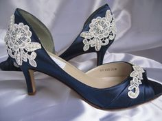 Wedding Shoes With Lace and Pearls Navy Blue - Over 100 Colors And Heel Heights To Pick From.