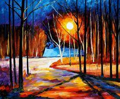 "Pink Snow — PALETTE KNIFE Landscape Oil Painting On Canvas By Leonid Afremov - Size: 36"" x 30"" (90 cm x 75 cm)"