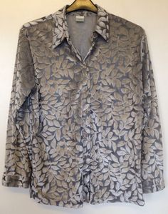 VINTAGE CANDA @ C&A GREY EMBOSSED LEAF PRINT BLOUSE SIZE 14 #Canda #Casual