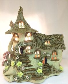 Thatched cottage house lamp electric table lamp. by Sallyamoss