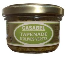"GREEN OLIVE TAPENADE $5.30 Tapenade, this flavorful paste, made of black or green olive, olive oil and capers, is a French favorite. It is delicious spread on bread or toasts for cocktail parties and ""apéritifs"". It is used as a condiment and as a cooking ingredient too.  Casabel tapenade is made by Raymond-Geoffroy, a Nîmes-based company founded in 1879. Raymond-Geoffroy's motto is ""l'innovation dans la tradition"". 100 grams / 3.5 oz"