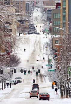 When it snows in Seattle, the whole city shuts down.  Lots of steep hills here, and idiots who think they can make it up one in their cars.
