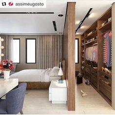 Quando o tamanho do #quarto permite...uma solução bonita e funcional. #Repost @assimeugosto (@get_repost) Quarto e closet semi-integrados