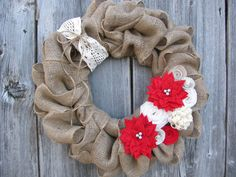 Christmas Burlap Wreath Vintage style Red and by TheRuffledPage