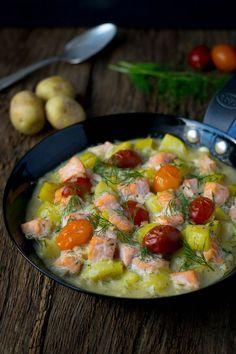 Super lecker - Kartoffel Lachs Pfanne mit Dill