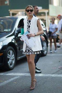 Vest with shift dress. Statement heels