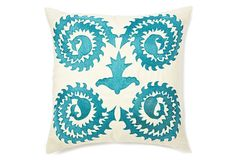 20x20 Stag Horn Pillow | ivory/blue | OneKingsLane.com