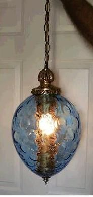 Vintage Blue Glass Hanging Celing Swag Lamp / Light -- available on Ebay. Do swag lamps always come with a man's arm?