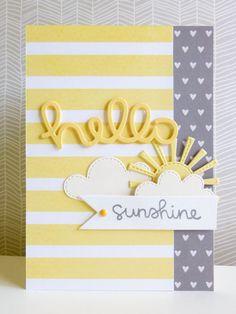 card sun cloud clouds scripty hello sunshine Lawn Fawn - Paper: American Crafts, Pebbles Inc Dies: Lawn Fawn, MFT Stamp: Lawn Fawn Other: enamel dot, foam Scrapbooking, Scrapbook Cards, Love Cards, Diy Cards, Karten Diy, Rainbow Card, Cricut Cards, Get Well Cards, Card Making Inspiration