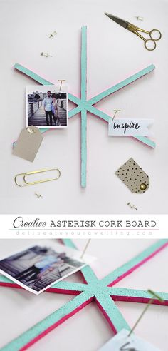 Creative Asterisk Cork board, see how easy it is to create different shapes! Delineateyourdwelling.com
