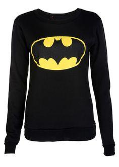 Batman Print Sweatshirt - Womens Clothing Sale, Womens Fashion, Cheap Clothes Online | Miss Rebel