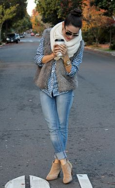 Button down, vest, skinny jeans (no roll bottom) with booties, scarf optional.