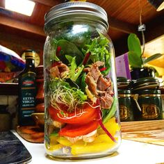 Got inspired by pintrest to create my own mason jar salad this is my first every attempt 😊