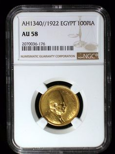Egypt AH1340//1922 Gold 100 Piastres *NGC AU-58* Very Scarce Low Mintage