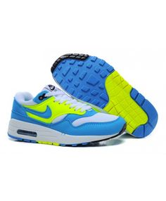 newest 75c2b 4234d Women s Nike Air Max 1 Essential Running Shoes Royal Blue White Fluorescent  Green Sale