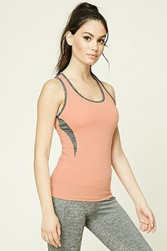20c1283753de6 A athletic stretch-knit cami featuring a two-tone heathered fabric at the  bodice