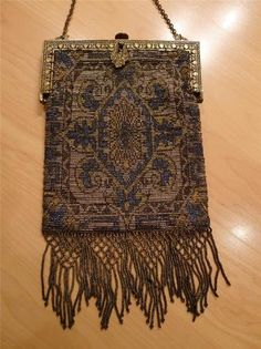 Victorian Micro Beaded Purse Blue Gold Metallic Fringe Steel Beads France Box | eBay