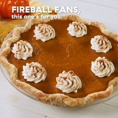 Pumpkin Pie Pumpkin pie is good, but Fireball pumpkin pie is GREAT. That extra kick of cinnamon does wonders and we won't tell it's in there if you won't. Get the recipe at . Köstliche Desserts, Delicious Desserts, Dessert Recipes, Yummy Food, Tasty, Pumpkin Pie Recipes, Fall Recipes, Holiday Recipes, Pecan Recipes