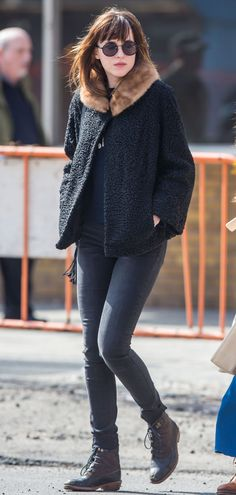 Dakota Johnson Steps Out in a Grandma Coat, Looks Chic  - MarieClaire.com