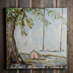 sarah robertson pink house and swing painting