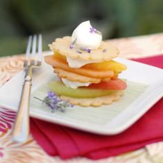 Melon Napoleons. A healthy take on the traditional layered dessert. In this recipe, high-fat, high-calorie pastry and filling are replaced with tempting Lemon Crisps, melon slices, and light dessert topping.
