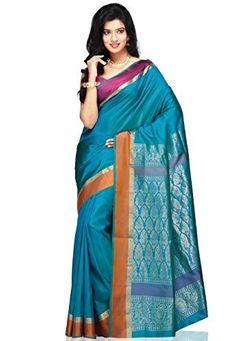 Utsav Fashion Women's Aqua Shot Tone Pure Bangalore Handloom Silk Saree with Blouse- Shopping Decision Maker-ShopAtGoodPrice.com #ShopAtGoodPrice #SilkSarees #UtsavFashion #FashionIndia #amazonsilksarees #qualityproducts