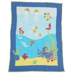 Very cool ocean quilt-something like this for girls, maybe sparkly jelly fish