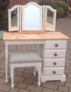 BEAUTIFUL SHABBY CHIC SOLID PINE DRESSING TABLE / DESK WITH MIRROR & STOOL