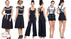 Voodoo Vixen Hope Navy Blue Nautical Sailor Swing Dress Jumpsuit Romper S-XL #VoodooVixen #FlareDressMidcenturyprintAnchorCardiganNauticalSweaterSealifeshorts #Casual