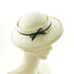 Natural Panama Saucer Hat Women's Boater Hat by TheMillineryShop