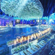 "As Paul Nasr says, ""There is no such thing as too many flowers!"" This blue-lit reception in #Cairo, #Egypt featured an epic #hydrangea-filled #floralceiling! 