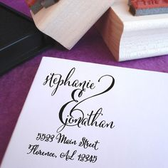 Ampersand Love Custom Rubber Address Stamp - Beautiful typography in a great address stamp!