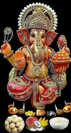 Well designed Ganesh Photo with jewellery and diyas glowing on either side Jai Ganesh, Shree Ganesh, Ganesha Art, Lord Ganesha, Ganesha Drawing, Ganesha Painting, Lord Shiva, Ganesha Pictures, Ganesh Images