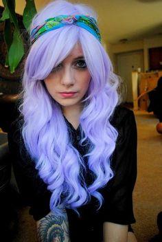 light purple hair with headband love her curls Omg periwinkle hair