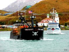 F/V Timebandit and F/V Northwestern heading out to the Bering sea to hunt for those crabs. Photo by Mrs. Deadlist Catch, Alaska Salmon Fishing, Stormy Waters, King Salmon, Fishing Vessel, Ferry Boat, Best Boats, Jolly Roger, Alaska Cruise