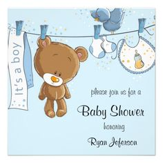 Cute Blue Baby Shower Invitations with teddy bear  #babyshower #babyboy