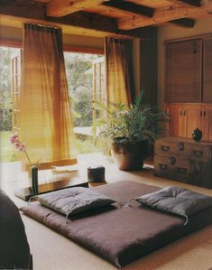 Yoga/Meditation room idea- love the eggplant and gold contrast with natural wood accents