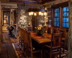 foxtail log cabin rustic interior dining big sky montana