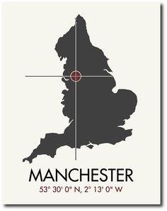 Manchester Latitude Longitude Map Art City Print 11 x TRY via Etsy. Manchester Art, Manchester England, Manchester United, Manchester Tattoo, Latitude And Longitude Map, Vintage Maps, British Isles, Travel Goals, England