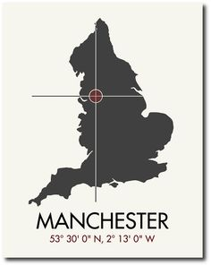 Manchester Latitude Longitude Map Art City Print 11 x 14. $20.00, via Etsy.