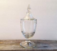 Vintage Tall Pedestal Glass Ribbed Dish with by TazamarazVintage