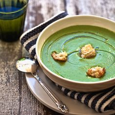 Yummy Supper: OTTOLENGHI'S GREEN GAZPACHO (I'm going to make GF croutons and sub. plain coconut milk yogurt to make it GF & dairy free.)