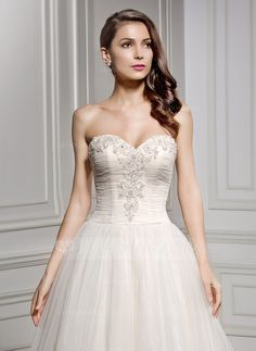 A-Line/Princess Sweetheart Chapel Train Ruffle Beading Appliques Lace Sequins Zipper Up Covered Button Strapless Sleeveless Church General Plus No Winter Spring Summer Fall Other Colors Tulle Wedding Dress