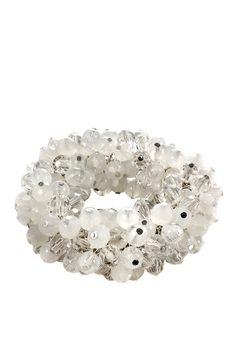 Bright Whites: Jewelry Shop  Crystal & White Bauble Cluster Stretch Bracelet  $22.00