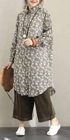 Fall Vintage Print Linen Long Shirt For Women Iranian Women Fashion, Muslim Fashion, Hijab Fashion, Fashion Outfits, Womens Fashion, Fashion Trends, Trending Fashion, Dress Fashion, Mode Outfits