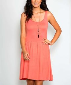Another great find on #zulily! Coral Fit & Flare Dress #zulilyfinds