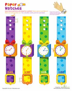 Worksheets: Practice Telling Time: 1 O'Clock