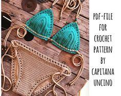 PDF-file for Crochet PATTERN, Serafina Crochet Bikini Top and Bottom, Bottom is Basic with more coverage, Sizes XS-L by CapitanaUncino on Etsy Baby Bikini, Double Crochet, Single Crochet, Crochet Yarn, Crochet Hooks, Crochet Top, Crochet Bikini Bottoms, Chain Stitch, Slip Stitch